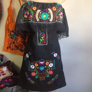Mexican Off-Shoulder Black Mini Dress Embroidered